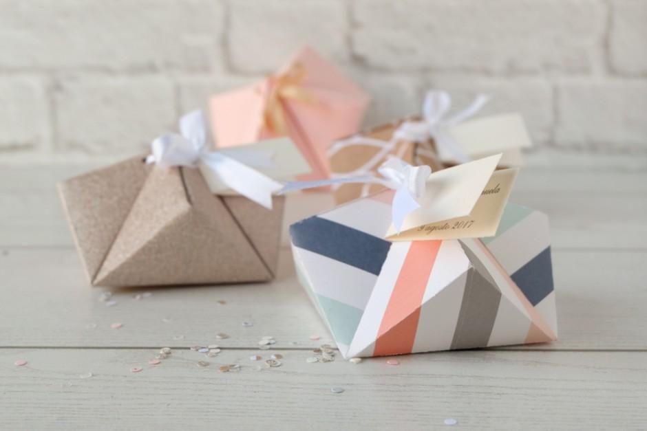 DIY Box Origami: portaconfetti per un matrimonio dallo stile geometrico