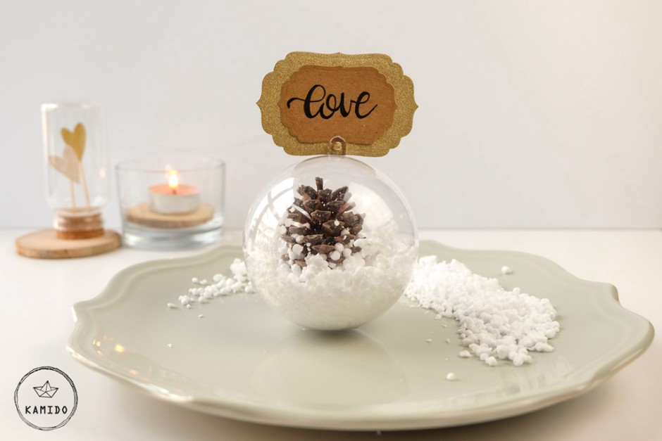Segnaposto invernale: DIY palla di neve